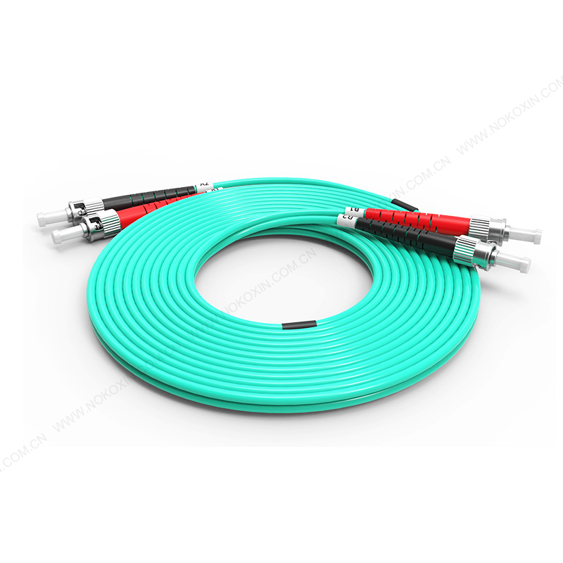 Fiber Optic Patch Cord, ST ST duplex optical patch cord mm OM3 aqua